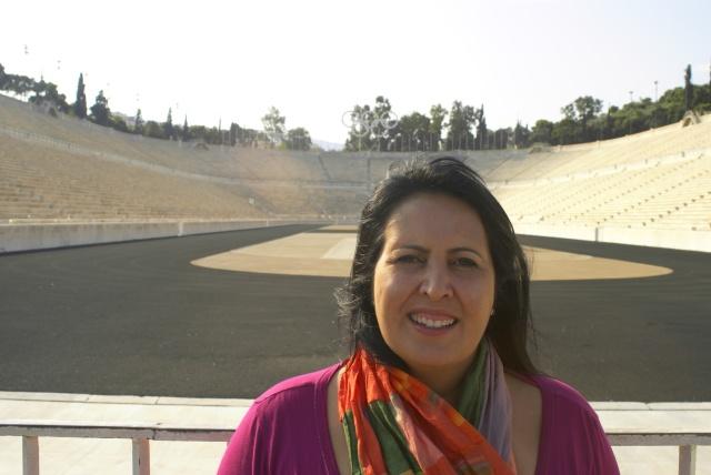 eu na frente do estádio das olímpiadas